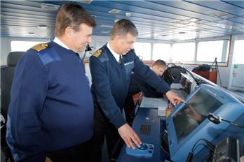 At the bridge of the tanker SCF Baltica on the Northern Sea Route